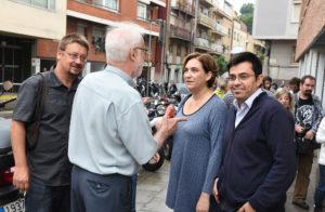 Xavier Domènech, Ada Colau i Gerardo Pisarello, al barri del Carmel / AJUNTAMENT DE BARCELONA