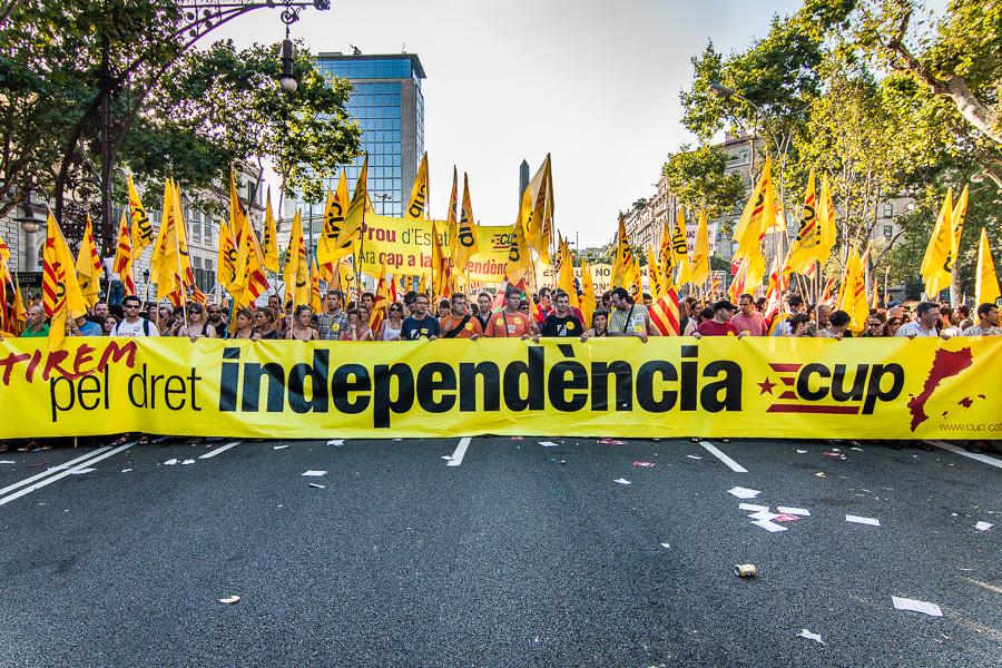 Pancarta de la CUP en favor de la independència en una manifestació a Barcelona / JORDI BORRÀS