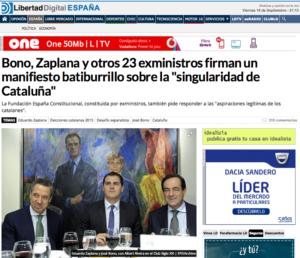 Portada de Libertad Digital amb la imatge de Zaplana i Bono escortant Albert Rivera / ARXIU