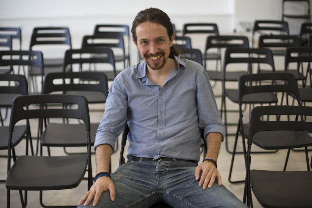 Pablo Iglesias in Podemos headquarters
