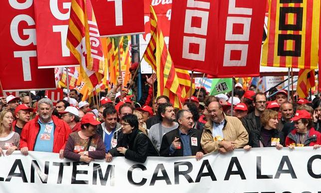 Manifestació dels sindicats UGT i CCOO / S. P. G.