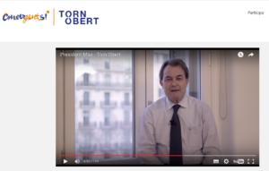 Pàgina web de la campanya 'Torn obert' per la refundació de CDC amb un vídeo d'Artur Mas / TORNOBERT.CAT