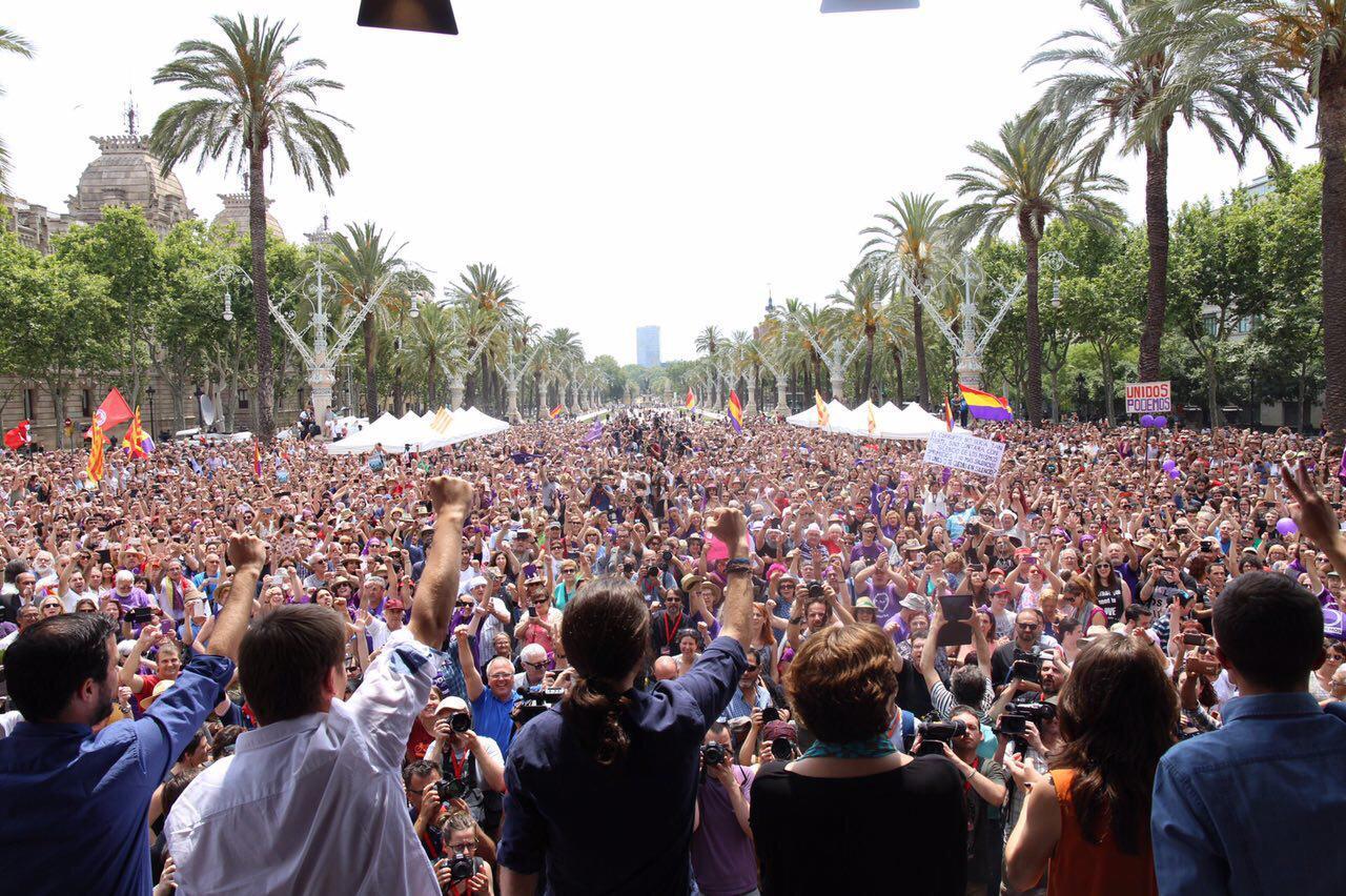 Míting d'En Comú Podem a Barcelona.