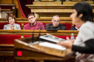 Bancada de CSQP al Parlament amb Gemma Lienas, Albano Dante i Joan Coscubiela / JORDI BORRÀS