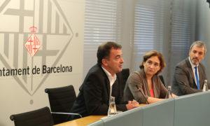 Compareixença conjunta d'Ada Colau, Alfred Bosch i Jaume Collboni el juliol de 2015 / AJUNTAMENT DE BARCELONA