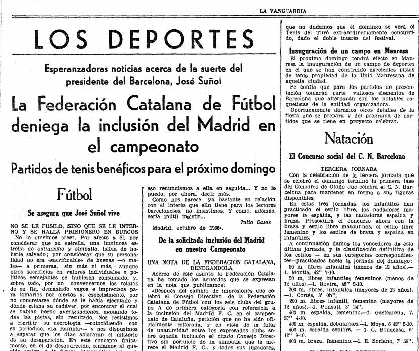 Pàgina de la secció d'Esports de 'La Vanguardia' republicana / LA VANGUARDIA