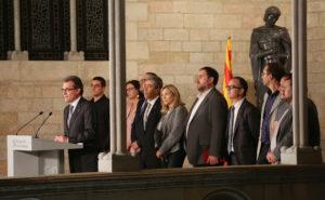 Compareixença dels líders dels partits sobiranistes prèvia al 9-N. Foto: Generalitat de Catalunya