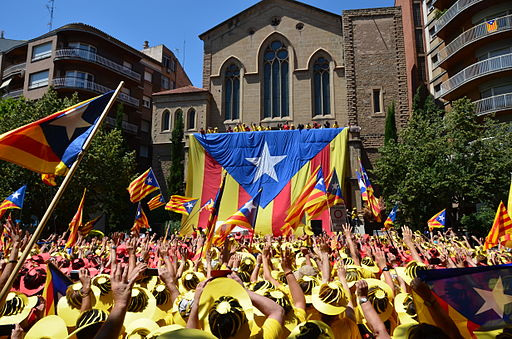 Estelada humana a Manresa. Foto: Josep Renalias