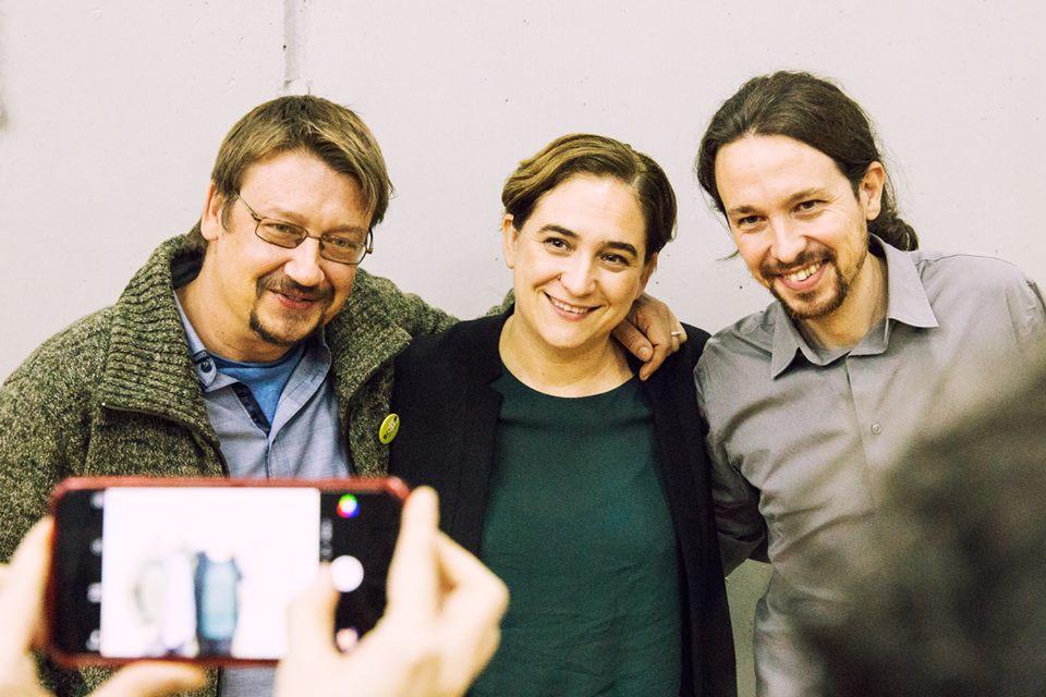 Xavier Domènech, candidat d'En Comú - Podem, amb Ada Colau i Pablo Iglesias. Foto: ECP