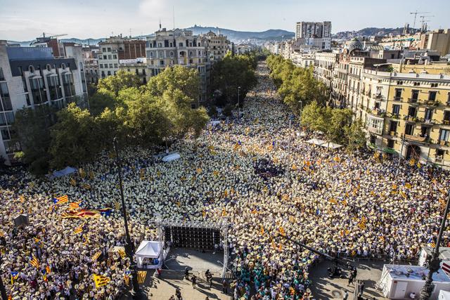 Imatge de la massiva manifestació de la Diada de 2016 a Barcelona. Foto: JORDI BORRÀS