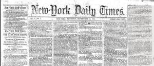 Portada del diari New York Times que va sortir publicat per primer cop el 18 de setembre 1851