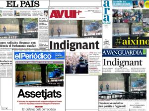 El dia que milers d'indignats van bloquejar les portes del Parlament contra l'aprovació dels primers pressupostos de les retallades entre CiU i PP / SPG