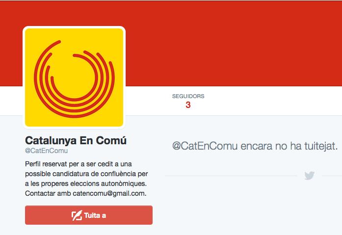 Perfil de twitter de Catalunya en Comú, no inaugurat encara / CRÍTIC