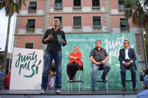 Romeva, Junqueras i Mas en un míting de Junts pel Sí / CDC
