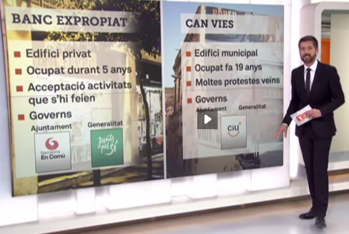 Comparativa entre el 'Banc Expropiat' i Can Vies al Telenotícies de TV3 / TELEVISIÓ DE CATALUNYA