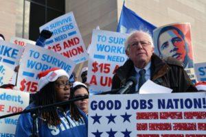El demòcrata Bernie Sanders, en un acte de campanya de les primàries / SANDERS CAMPAIGN
