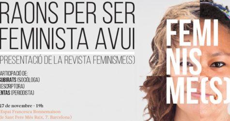 Presentem FEMINISME(S) amb un debat a l'Espai Bonnemaison, el dia 27 de novembre