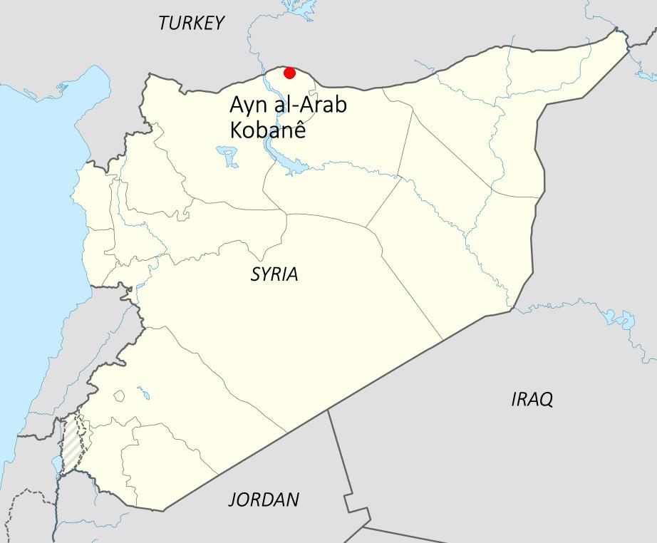 mapa kobane