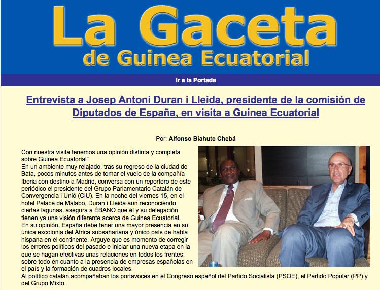 Entrevista a l'oficialista 'La Gaceta de Guinea Ecuatorial' amb Duran i Lleida / ARXIU
