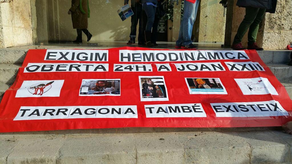Protesta demanant l'Unitat d'Hemodinàmica durant les 24 hores del dia a la província de Tarragona / CGT