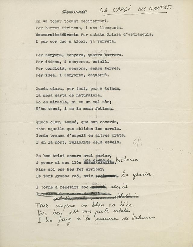 Cançó del cansat. Font: Arxiu Personal d'Ovidi Montllor i Mengual.