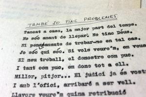 Mecanoscrit d'autocritica i crítica. Foto: Feliu Ventura.