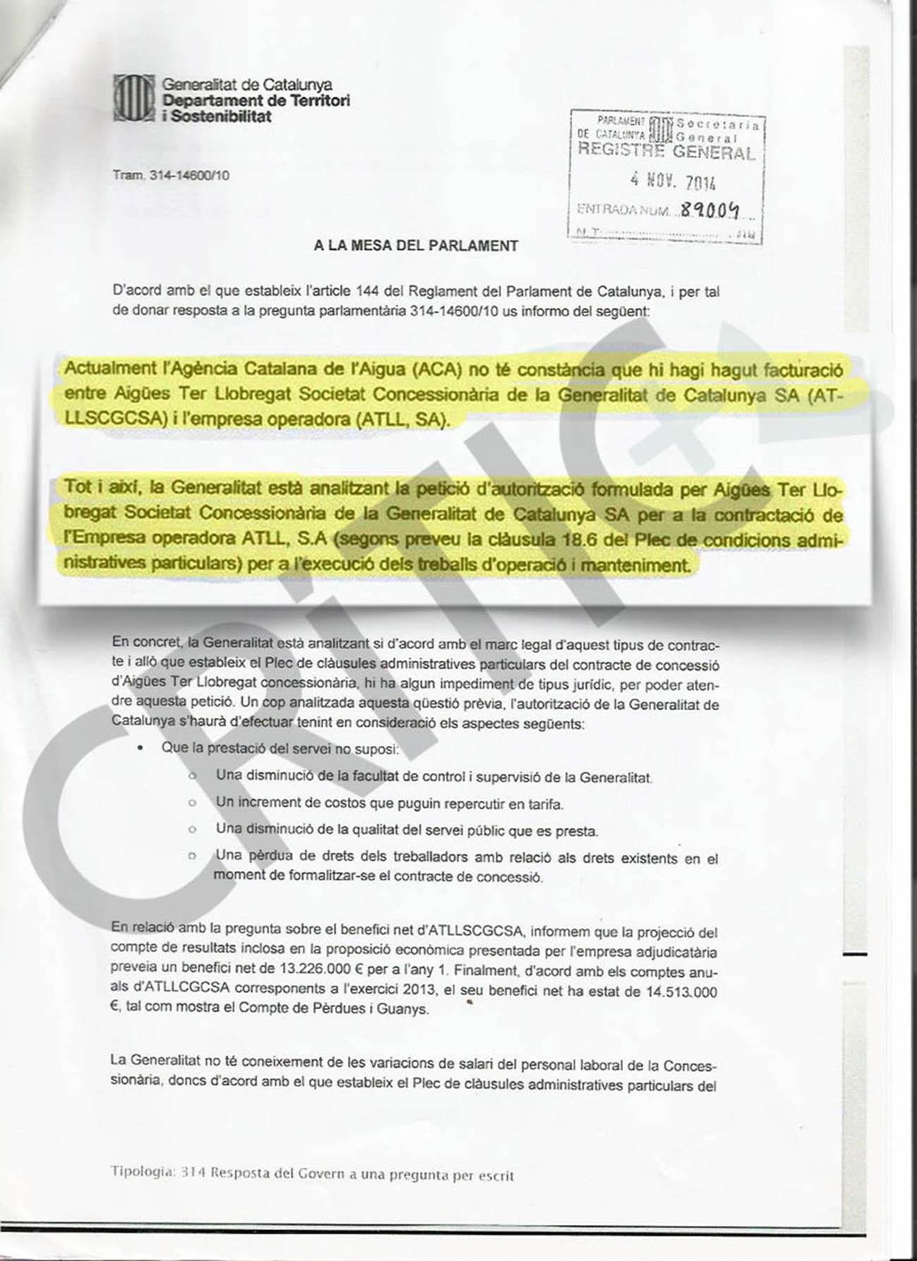 Resposta del govern a preguntes de la CUP sobre la facturació d'ATLL / CRÍTIC