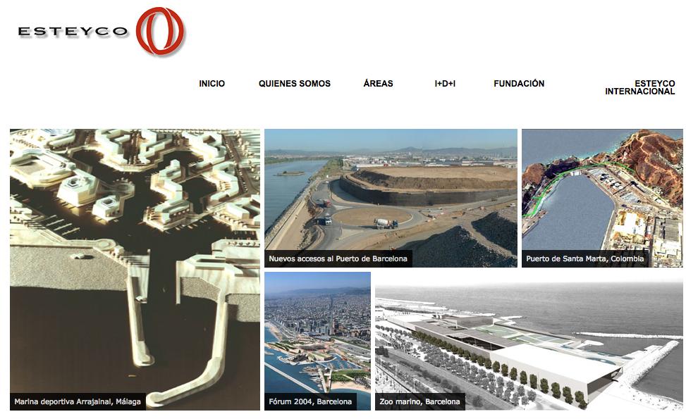Pàgina web d'Esteyco on destaquen projectes seus al Port de Barcelona, al Fòrum de les Cultures i el zoo marí / CRÍTIC