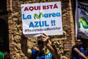Protesta dels treballadors de Movistar / JORDI BORRÀS