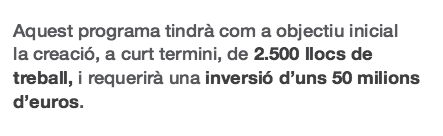 """""""2.500 llocs de feina i una inversió de 50 milions d'euros"""", prometia el Pla de Xoc / CRÍTIC"""