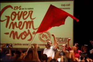 Antonio Baños i Eulàlia Reguant, entre altres nous diputats de la CUP durant la nit electoral / ORIOL CLAVERA / CUP