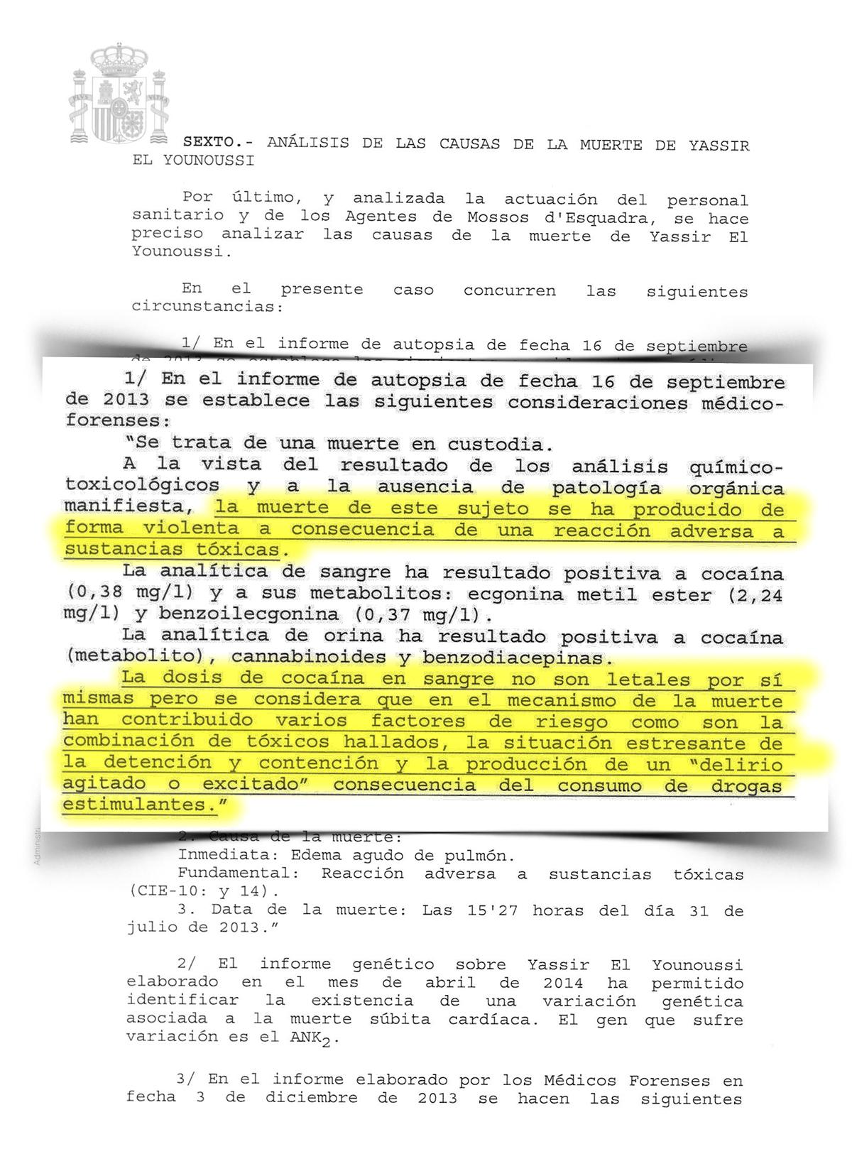 """L'informe destaca la """"situació estressant de la detenció"""" de Yassir com a una de les causes de la mort / CRÍTIC"""