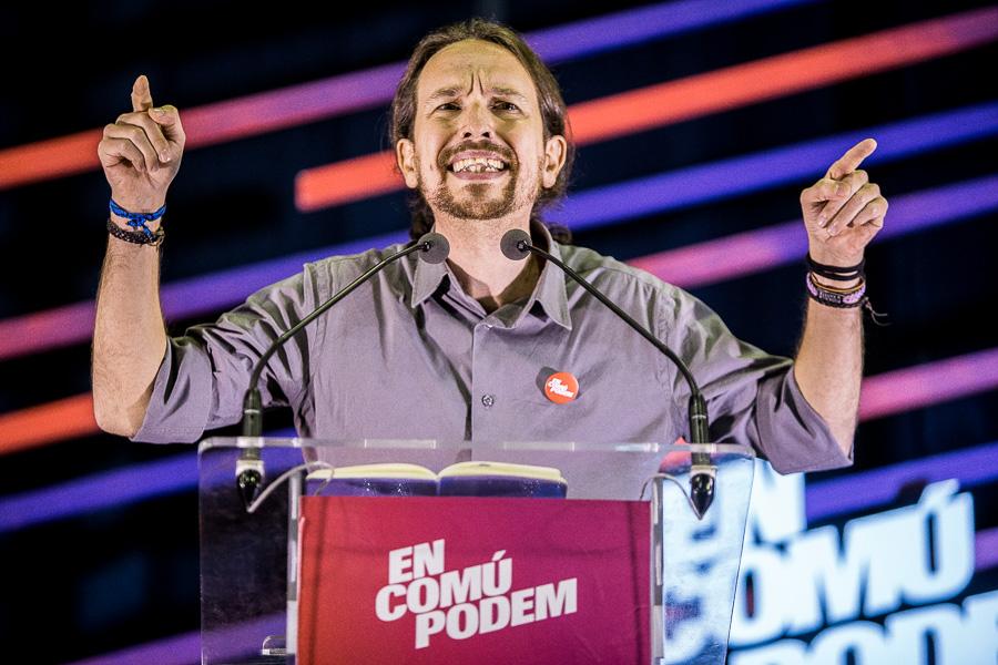 Pablo Iglesias, en un míting d'En Comú Podem / JORDI BORRÀS