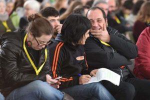 Eulàlia Reguant, Anna Gabriel i David Fernàndez a l'assemblea de Sabadell