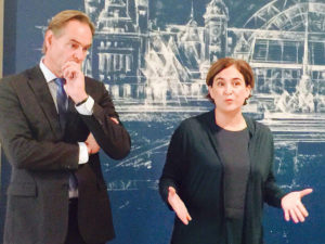 Ada Colau amb l'alcalde de Leipzig, Burkhard Jung. Foto: Ajuntament de Barcelona