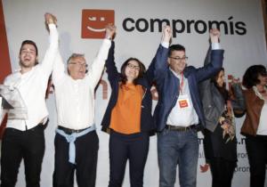 Joan Ribó, Mónica Oltra i Enric Morera la nit del 24 de maig de 2015 / COMPROMÍS