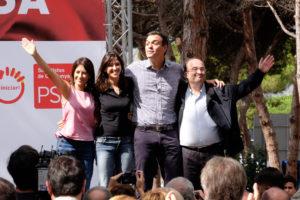 Núria Parlon, Pedro Sánchez i Miquel a la darrera Festa de la Rosa / PSC