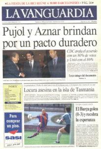 Portada de 'La Vanguàrdia' l'endemà del pacte del Majestic entre Pujol i Aznar