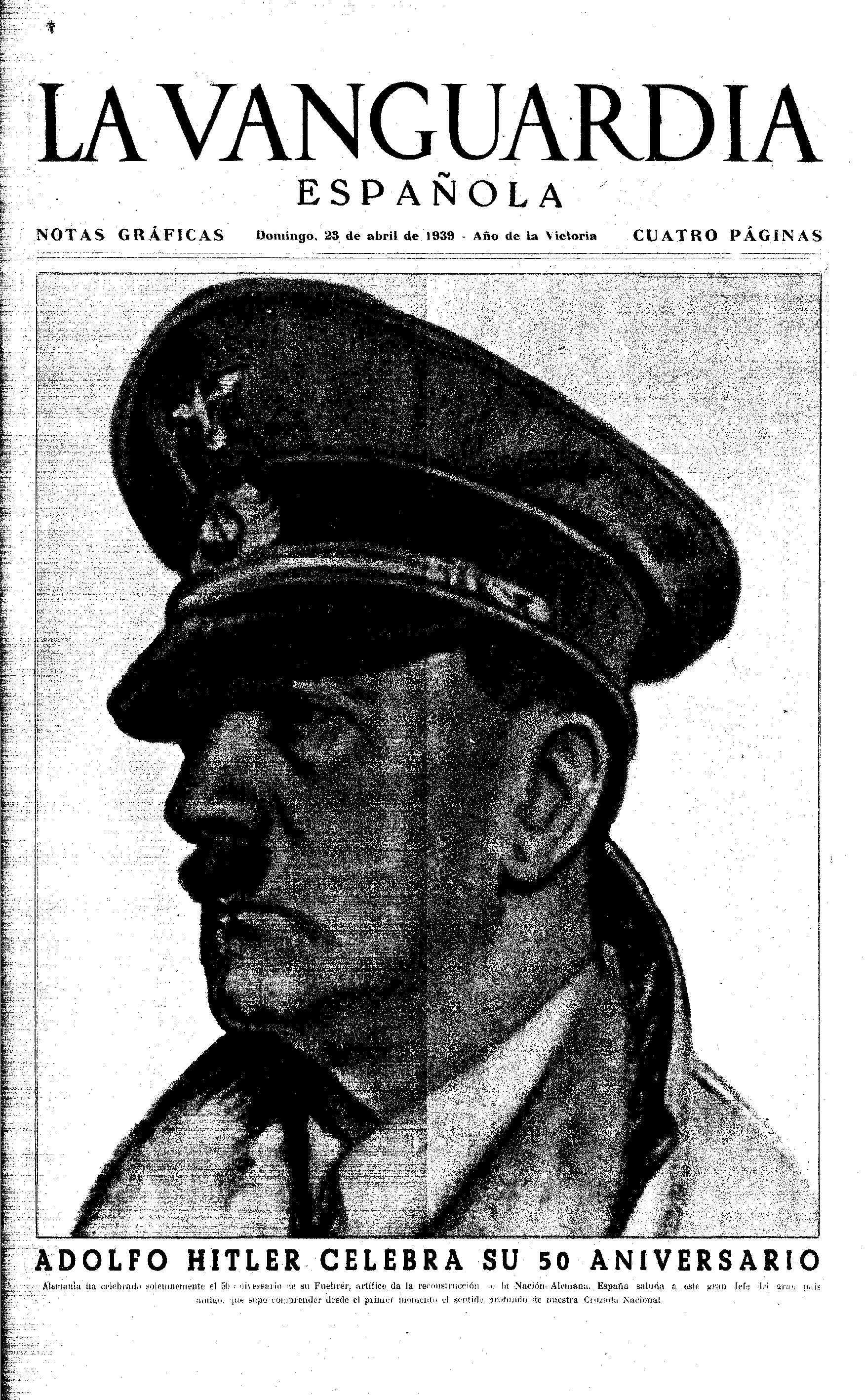 Portada de La Vanguardia del 23 d'abril de 1939 dedicada a Hitler.