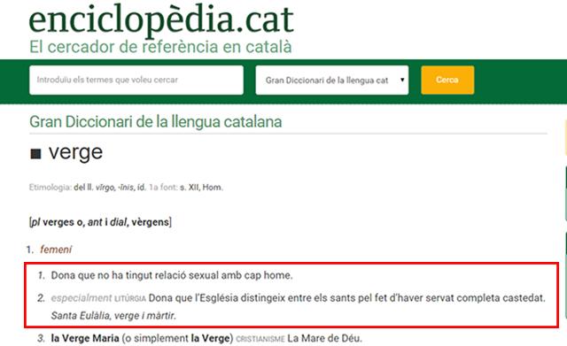 Definicions que fa el diccionari de l'Enciclopèdia Catalana de 'verge'