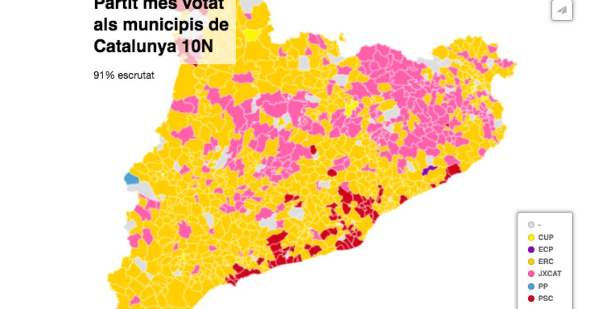 Mapa Interactiu Municipis Catalunya.Mapa Interactiu De Les Eleccions Espanyoles Del 10 N A Catalunya