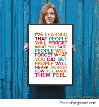 I've learned that people will forget what you said, people will forget what you did, but people will Framed Poster