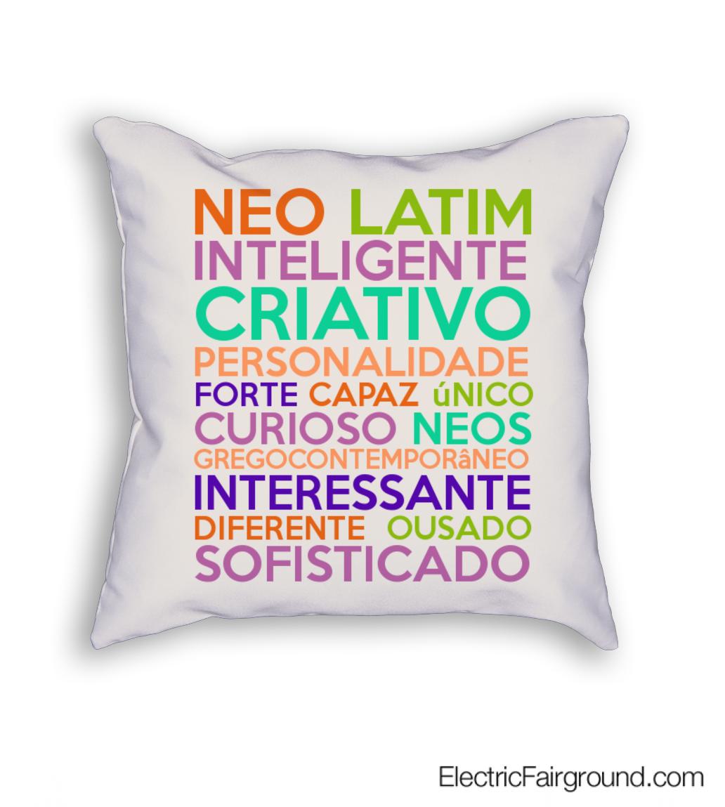 Neo latim inteligente criativo personalidade forte capaz único curioso neos gregocontemporâneo int Cushion