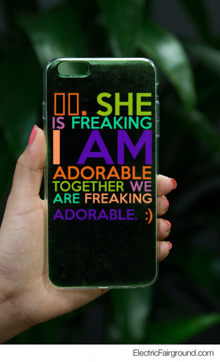 ⬅️. She is freaking I am adorable together we are freaking adorable. :)  iPhone Case