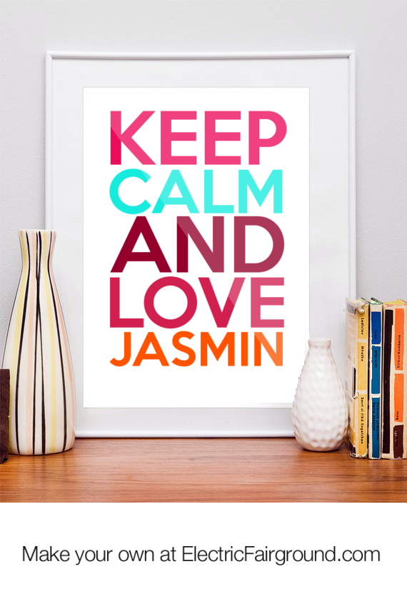 keep calm and love jasmin Framed Quote