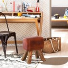Small Brown Leather Stool
