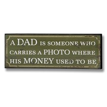 A dad carries a photo plaque