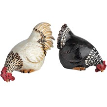 Set of two hen and rooster shelf sitters