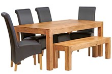 Mango 6ft Dining Set with Bench and 4 Leather Chairs