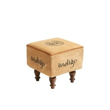 Canvas Square Stool with Wooden Legs